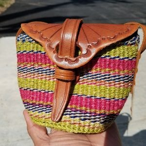 Kenyan Boho Woven Sisal Leather Crossbody Mini Bag